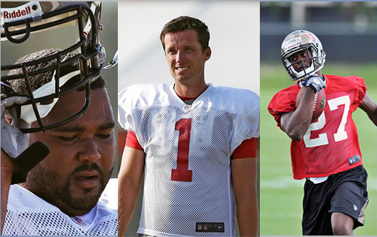 Tampa Bay Buccaneers players Carl Nicks, Lawrence Tynes, and Johnthan Banks (pictured l to r) were all diagnosed with MRSA infections in the past three months.